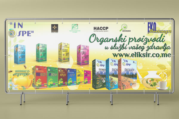 Outdoor banner created for promotion of bioshop Eliksir (IN SPE company)