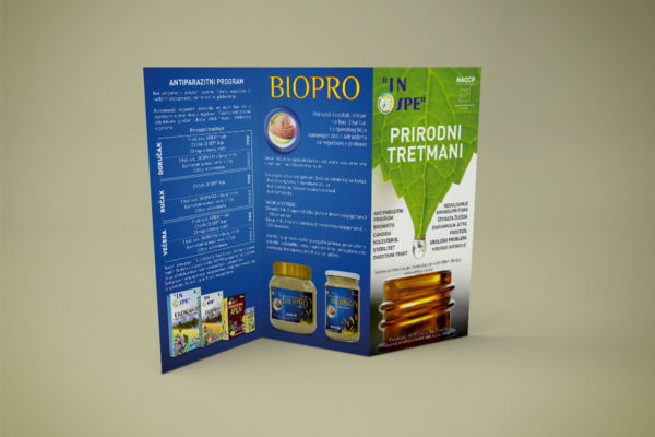 Tri fold brochure designed for IN SPE to promote natural threatments