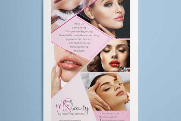 Logo and poster designed for MS Beauty salon in Vienna, Austria