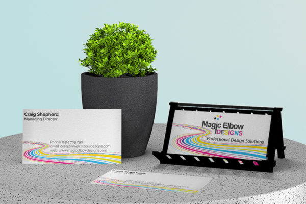Business cards for Magic Elbow Designs agency