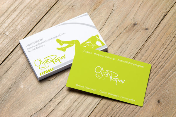 Business cards for personal trainer Olja Popov